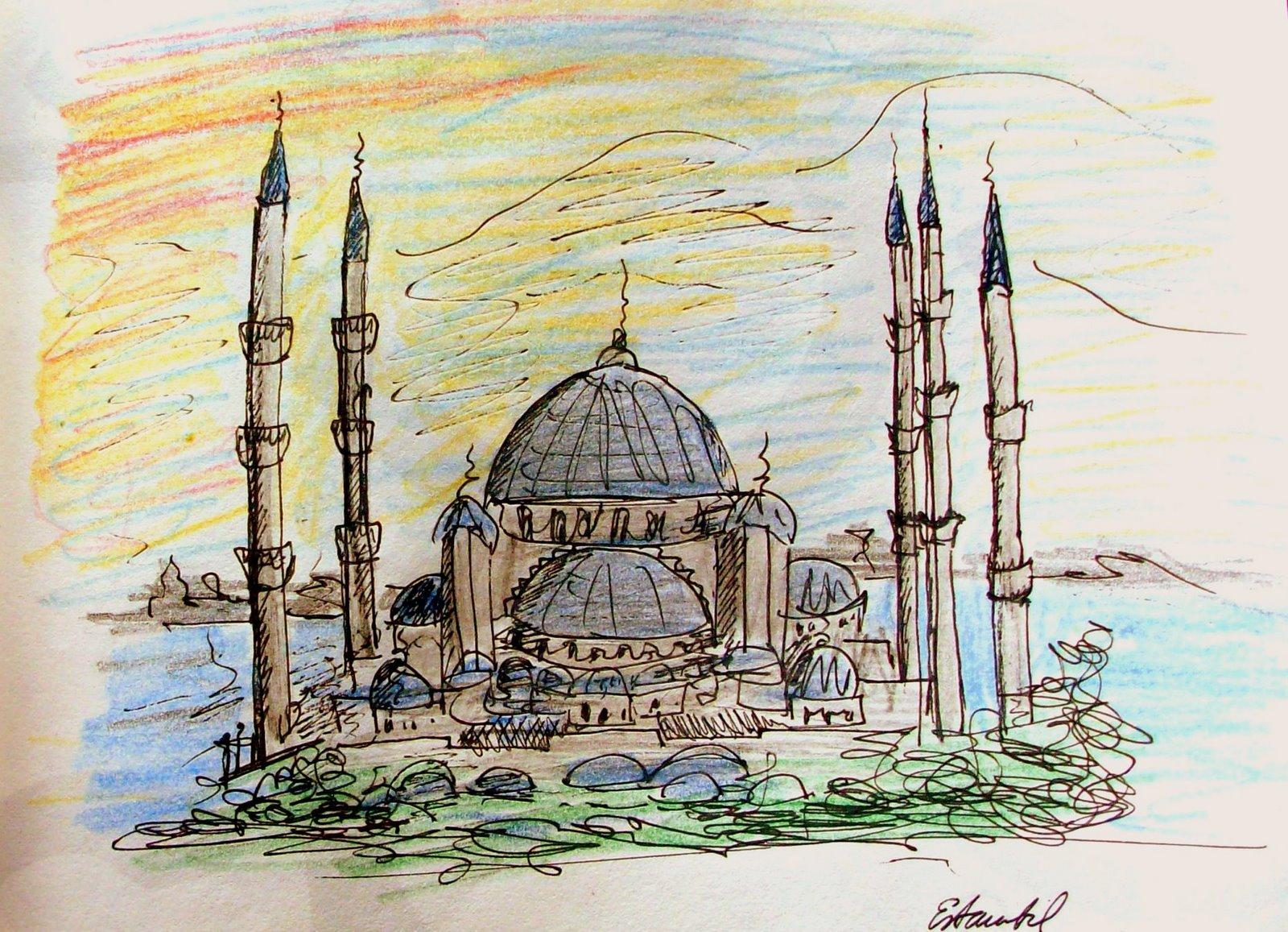 dibujo de la mezquita azul
