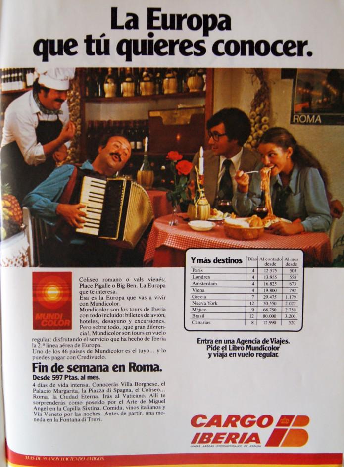publicidad de Iberia 1978