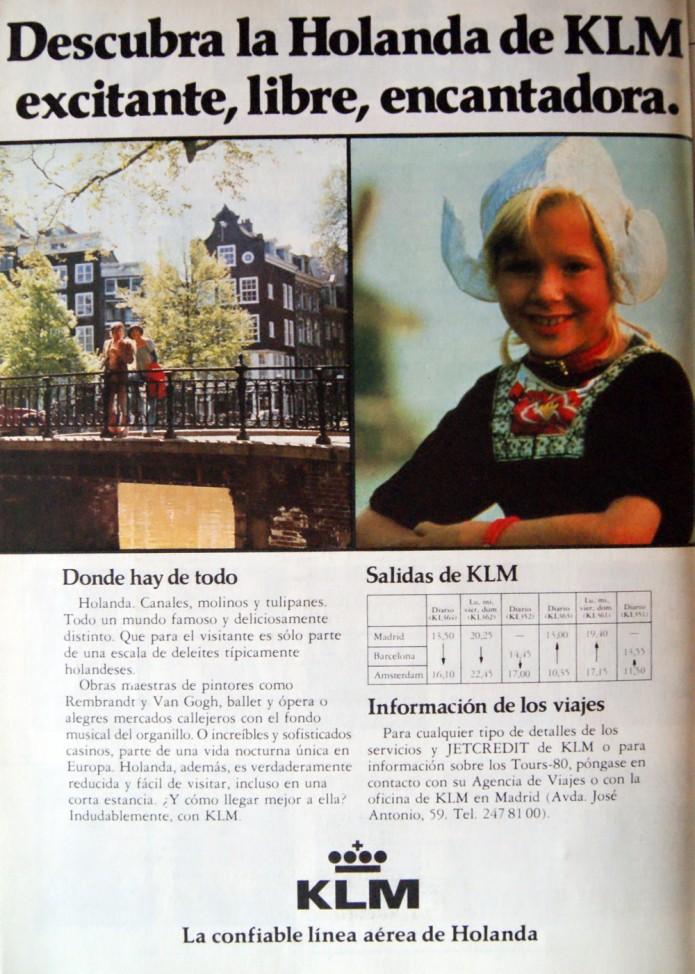anuncio de 1980 de KLM