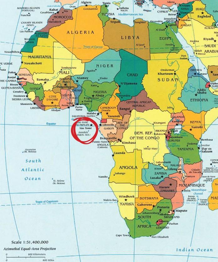 ¿Dónde está Santo Tomé y Príncipe?