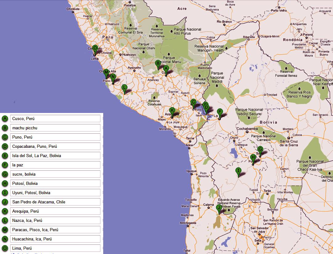 ruta por peru y bolivia