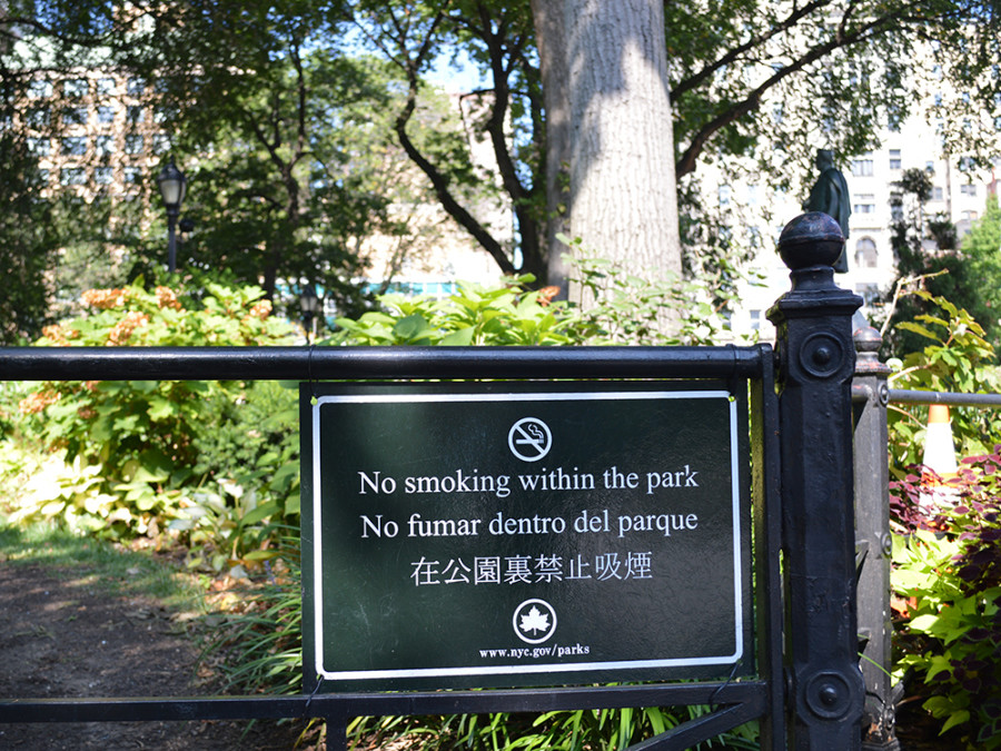 Letrero de no fumar en Nueva York